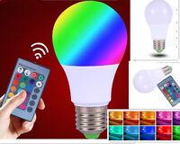 E27 RGB luz BOMBILLA LED CON MANDO DISTANCIA COLOR 15 COLORES lampara foco 5w 10