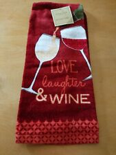 "NWT- WINE Kitchen Towels~Cotton~16"" x 28""~Love,Laughter, Wine"