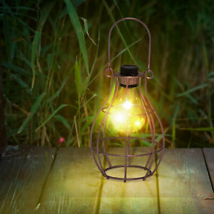 Solar Powered Hanging Copper Lantern Retro Outdoor Decor Light Table Lamp Bulb