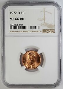1972-D NGC MS 66 RD United States / American Lincoln Memorial Cent