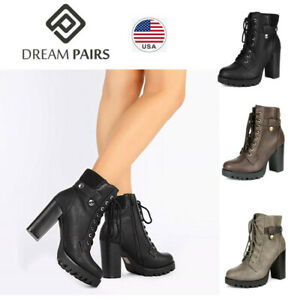 DREAM PAIRS Women Casual Booties Low Flat Heel Ankle Boots Winter Zipper Boots