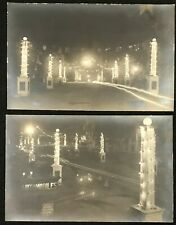 2 - RPPC NIGHT VIEW 1912 FIREMEN'S CONVENTION LIGHTS & FLAGS LEBANON, PA