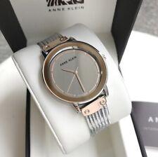 Anne Klein Watch * 3223SMRT Mirror Dial Rose Gold & Silver Chain Bracelet