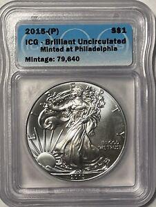 2015 P Silver Eagle, ICG Brilliant Uncirculated Mintage 79,000