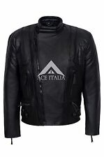 Mens Leather Jacket Black Limo Padded Arms Biker Style REAL NAPA LIMO JACKET