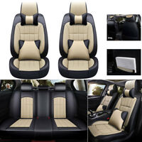 Deluxe Universal Car Seat Cover Full Set Front Rear Leather Luxury 5-sit Cushion