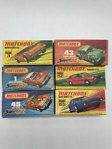 Lot of 6 Vintage Matchbox Diecast Cars Original Boxes Dodge Challenger BMW VW