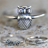 Vintage Antique 925 Silver Owl Ring Stacking Rings Bride Wedding Jewelry Gifts