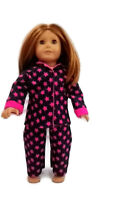 Star Pajamas PJs fits American Girl Dolls 18 inch Doll Clothes Hot Pink Black