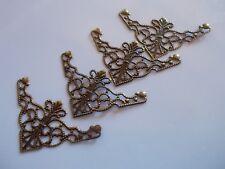 set of 4 flat triangle filligree corners - antique bronze colour 4.8cm x 2.6cm