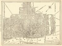 1923 Antique DETROIT Michigan Street Map Original City Map of Detroit  8222
