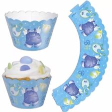 12 x Cupcake Wrappers Blue Baby Shower Party Supplies It's A Boy Its Clothesline