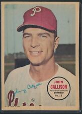 1967 TOPPS BASEBALL PIN-UP POSTER INSERT JOHN CALLISON #14 PHILLIES *A35