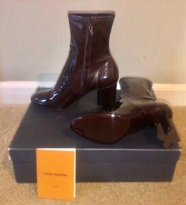 Authentic Louis Vuitton Silhouette Ankle Boot 8cm Bordeaux Patent Leather 39