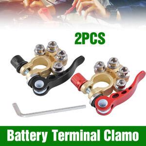 2x 4-Way Positive Negative Battery Terminal Connectors Clamp Car Van Caravan 12V