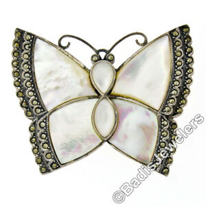 Large .925 Sterling Silver Mother of Pearl Marcasite Etched Butterfly Brooch Pin