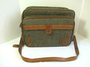 Vintage Hartmann Luggage Tweed and Leather Overnight Carry On Shoulder Bag