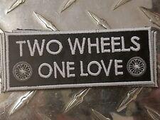 "biker patch ""two wheels one love"" motorcycle"