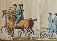 GROßE JAGDGESELLSCHAFT MIT HUNDEN UND TREIBERN - antike kolorierte Litho um 1850