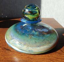 Vintage Isle of Wight Glass Blue Aurene Squat Bottle & Stopper- Original Sticker