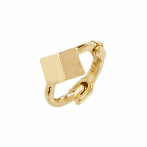 Genuine 9ct Yellow Gold Cube Design Hinged Single Cartilage Hoop Earring 6MM