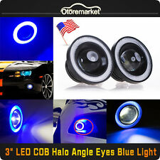 "2x 3"" Blue Projector LED Car Fog Light COB Halo Ring Angel Eye DRL Lamp Bulbs US"