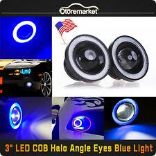 "20W 3"" Projector LED Car Fog Light Blue COB Halo Angel Eye 6000K Xenon White USA"
