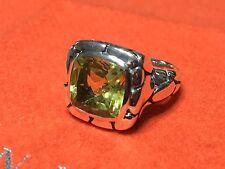 John Hardy $950 LARGE Lemon Quartz Kali Square Pebble Ring Size 7.25