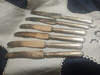 6 Dinner Knives Shakespeare Sectional Pattern Stratford Silver Plate VTG 1924