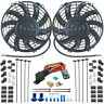 "DUAL 9"" INCH ELECTRIC RADIATOR COOLING FANS & 3/8"" NPT PROBE FAN THERMOSTAT KIT"
