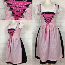 Dirndl Dress 36/uk 8 Pink Black Check Embroidery With Apron +shirt Corset German