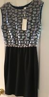 Erin Fetherston  Black Blue Dress Party Evening Wedding Cruise Sequin Size 6 NWT
