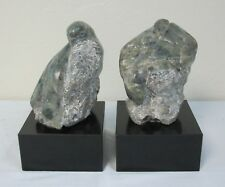 Jane Armstrong Sculpture Vermont Green Marble Pair of Birds Bookends C. 1970