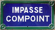 Old blue French enamel street sign road name plaque Villa Impasse Compoint Paris