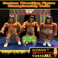 WWF Retro Custom Ultimate Warrior Wrestling Belt Set x 3 for Hasbro Figures