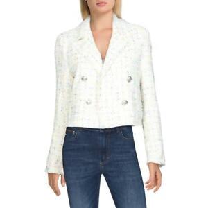 Aqua Womens White Tweed V-Neck Crop Blazer XS BHFO 6444