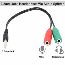 3.5mm Audio Jack to Headphone Microphone Splitter Converter Adaptor Cable.