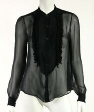 CHLOE Black Sheer Silk Chiffon Beaded Ruffle Front Tuxedo Style Blouse 36