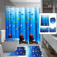 4Pcs/Set Bathroom Shower Curtain+Non-Slip Pedestal Rug+Lid Toilet Cover+Bath