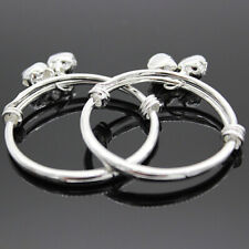 Adjustable Embossing Bell Charm Bangle Jewelr Cw_ Hk- Toddler Baby Silver Plated