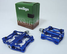 Wellgo B132 Downhill DH Mountain Bike Platform MTB Pedals,Replaceable Pins,BLUE
