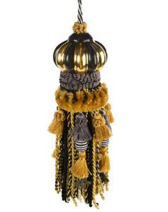 Mackenzie Childs Upscale Black & Gold QUEEN BEE Decorator TASSEL NEW $150 m20-au