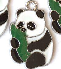 4 Lovely Enamel Panda Bear Hug Banboo Pendant Charm 30x20mm