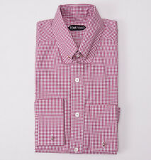 NWT $635 TOM FORD Pink-White Check Bar Collar Shirt Slim-Fit 15.75 French Cuffs
