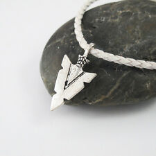 Silver Alloy Native American Arrow Pendant 3mm White Leather Tribal Necklace NEW