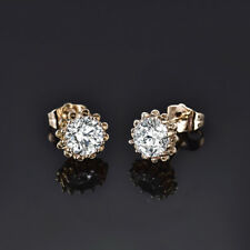 HUCHE Classic Yellow Gold Filled Diamond Clear Sapphire Lady Wedding Earrings