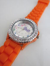 BRAND NEW COVERED WITH CRYSTALS HELLO KITTY ORANGE SILICONE WATCH