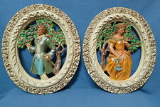 """Vintage Pair of Oval Shaped Chalkware Wall Pictures Victorian Couple 15 1/2"""" T"""