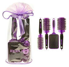 HEAD JOG OVAL PURPLE IONIC CERAMIC HAIR BRUSH SET X 4 IN GIFT BAG
