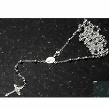 """Fancy Bead Silver Rosary 4mm-24"""" .925 Sterling Silver Chain 24"""""""